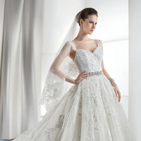 Wedding Dresses, Sweetheart Wedding Dresses, Ball Gown Wedding Dresses, Lace Wedding Dresses, Romantic Wedding Dresses, Fashion, Romantic, Lace, Sweetheart, Tulle, Demetrios, Jeweled belt, Sheer, Ball gown, cap sleeves optional, tulle wedding dresses