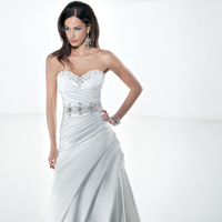 Wedding Dresses, Sweetheart Wedding Dresses, A-line Wedding Dresses, Fashion, Sweetheart, Strapless, Strapless Wedding Dresses, A-line, Tulle, Satin, Demetrios, Beaded, Embroidered, Bodice, Embellished, Attached Train, Corset back, asymmetrical pleating, side draping, tulle wedding dresses, satin wedding dresses