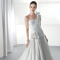 Wedding Dresses, One-Shoulder Wedding Dresses, A-line Wedding Dresses, Fashion, Flowers, A-line, Beading, Satin, Demetrios, Taffeta, Bodice, One-shoulder, dropped waist, Attached Train, asymmetrical pleating, Beaded Wedding Dresses, taffeta wedding dresses, satin wedding dresses, Flower Wedding Dresses