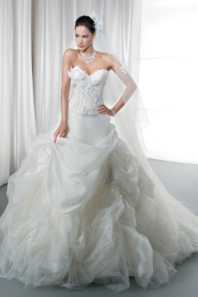 Wedding Dresses, Ball Gown Wedding Dresses, Fashion, Tulle, Demetrios, Jeweled, Beaded, Bodice, Embellished, Ruffled, Ball gown, Attached Train, Corset back, tulle wedding dresses