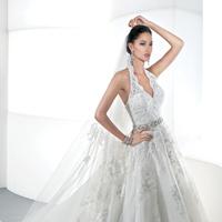 Wedding Dresses, A-line Wedding Dresses, Lace Wedding Dresses, Fashion, Lace, A-line, Demetrios, Jeweled belt, Embellished, Full skirt, Attached Train, V-neckline, halter top