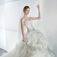 Wedding Dresses, Sweetheart Wedding Dresses, Ruffled Wedding Dresses, Fashion, Sweetheart, Strapless, Strapless Wedding Dresses, Demetrios, Ruffles, Attached Train, separates, jeweled bodice