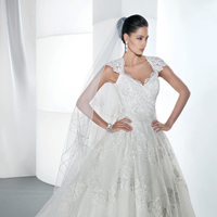 Wedding Dresses, Ball Gown Wedding Dresses, Lace Wedding Dresses, Romantic Wedding Dresses, Fashion, Romantic, Lace, Cap sleeves, Demetrios, Ball gown, Keyhole back, Beaded belt, Attached Train, scalloped neckline