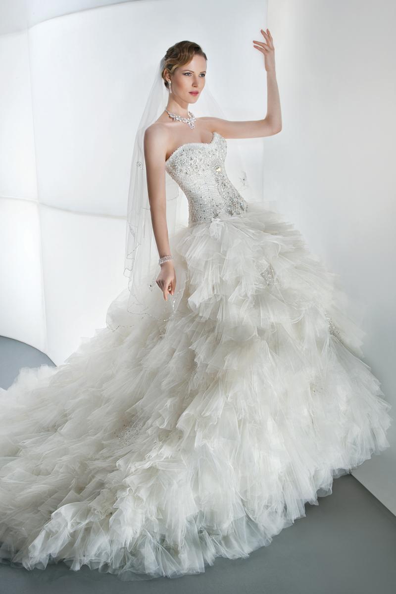 Wedding Dresses, Sweetheart Wedding Dresses, Ruffled Wedding Dresses, Fashion, Sweetheart, Strapless, Strapless Wedding Dresses, Demetrios, Ruffles, Attached Train, separates, jeweled bodice