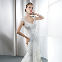 Wedding Dresses, Lace Wedding Dresses, Fashion, Lace, Cap sleeves, Sheath, Demetrios, Sheer, Embellished, Keyhole back, Jewel encrusted, scalloped neckline, fishtail train, Sheath Wedding Dresses