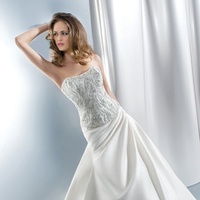 Wedding Dresses, Fashion, Strapless, Strapless Wedding Dresses, Demetrios, Lace-up, Beaded bodice, Attached Train, Corset back, side draping, separates
