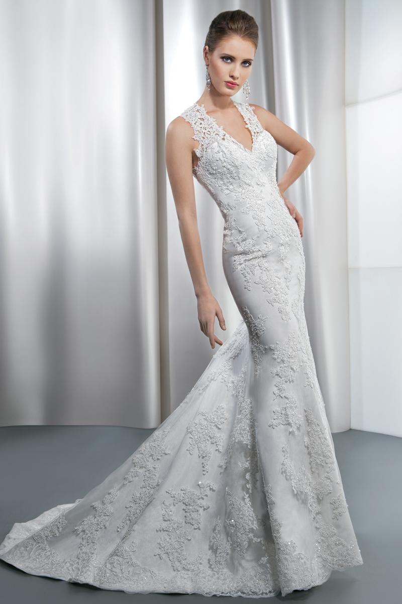 Wedding Dresses, Fashion, Buttons, Sheath, Demetrios, Attached Train, V-neckline, sheer lace, trumpet skirt, beaded lace, high back, Sheath Wedding Dresses
