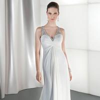 Wedding Dresses, Fashion, Crystal, Demetrios, Beaded, Bodice, Attached Train, V-neckline, Asymmetrical ruching, sheer neckline, draped back
