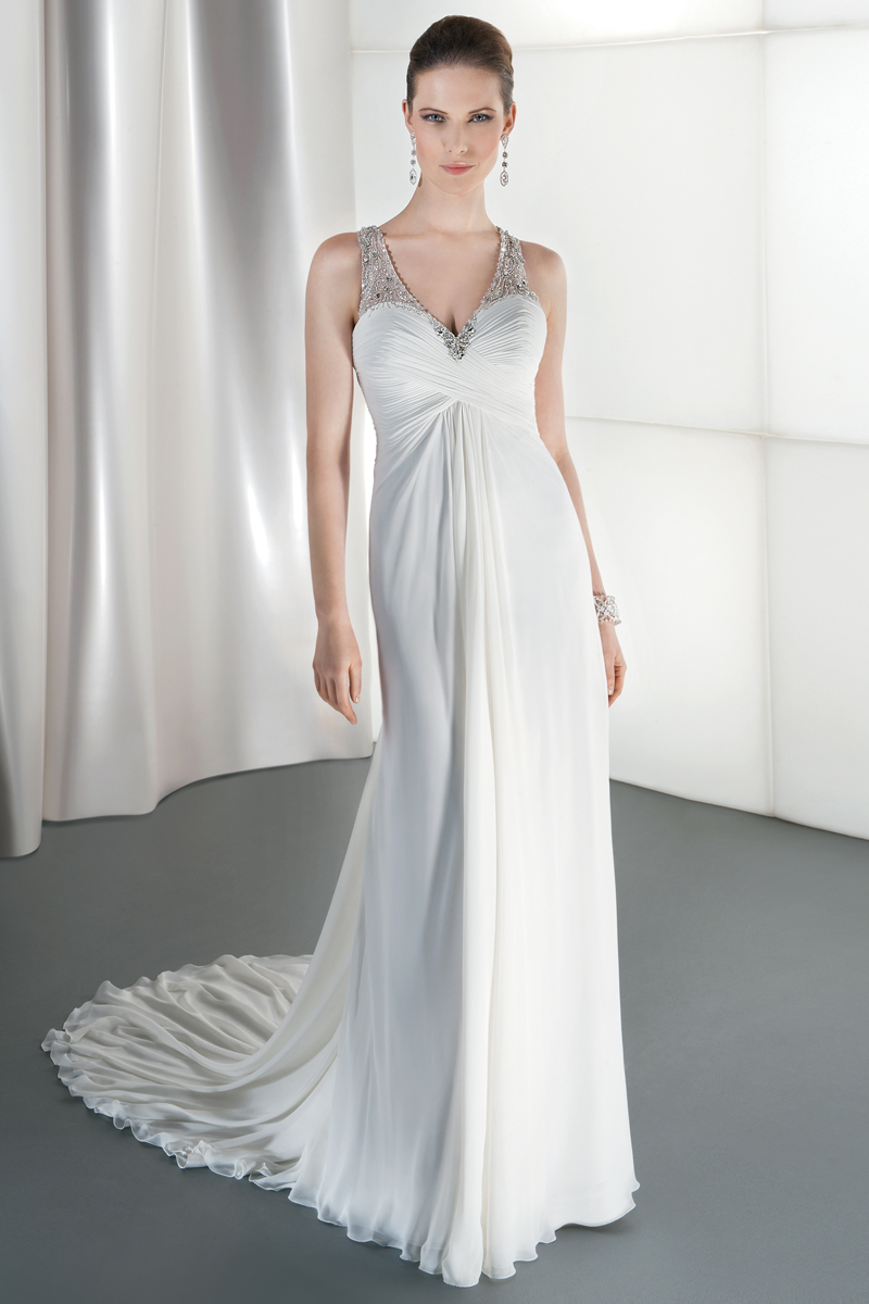 Wedding Dresses, Fashion, Crystal, Demetrios, Beaded, Bodice, Attached Train, V-neckline, Asymmetrical ruching, sheer neckline, draped back