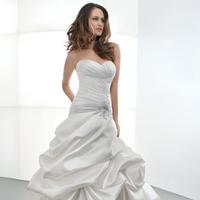 Wedding Dresses, Fashion, Satin, Demetrios, Taffeta, Attached Train, Corset back, Jewel encrusted, Bustled skirt, asymmetrical pleating, taffeta wedding dresses, satin wedding dresses