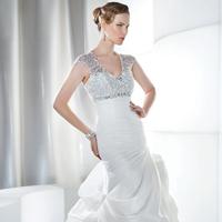 Wedding Dresses, Fashion, Demetrios, Jeweled, Beaded, Embellished, empire waist, Bustled skirt, Asymmetrical ruching, keyhold, lace-up back