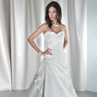 Wedding Dresses, Sweetheart Wedding Dresses, Fashion, Sweetheart, Strapless, Strapless Wedding Dresses, Demetrios, Jeweled, Taffeta, Attached Train, Corset back, Asymmetrical ruching, draped skirt, taffeta wedding dresses