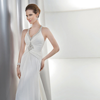 Wedding Dresses, Fashion, Halter, Crystal, Chiffon, Demetrios, Jeweled, Bodice, Embellished, Attached Train, V-neckline, Asymmetrical ruching, high neckline, halter wedding dresses, Chiffon Wedding Dresses