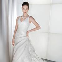 Wedding Dresses, Fashion, Demetrios, Ruffled, Attached Train, V-neckline, Asymmetrical ruching, side draping, ruffled layers