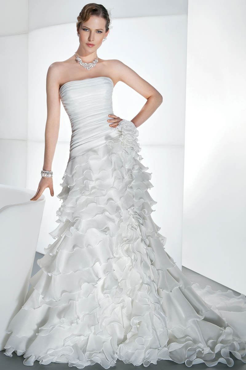 Wedding Dresses, Ruffled Wedding Dresses, Fashion, Strapless, Strapless Wedding Dresses, Demetrios, Ruffles, Corset back, 2 piece, removable skirt, Asymmetrical ruching, mini dress