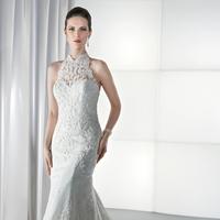 Wedding Dresses, Lace Wedding Dresses, Fashion, Lace, Sheath, Demetrios, Dramatic, Sheer, Keyhole back, Attached Train, halther, Sheath Wedding Dresses