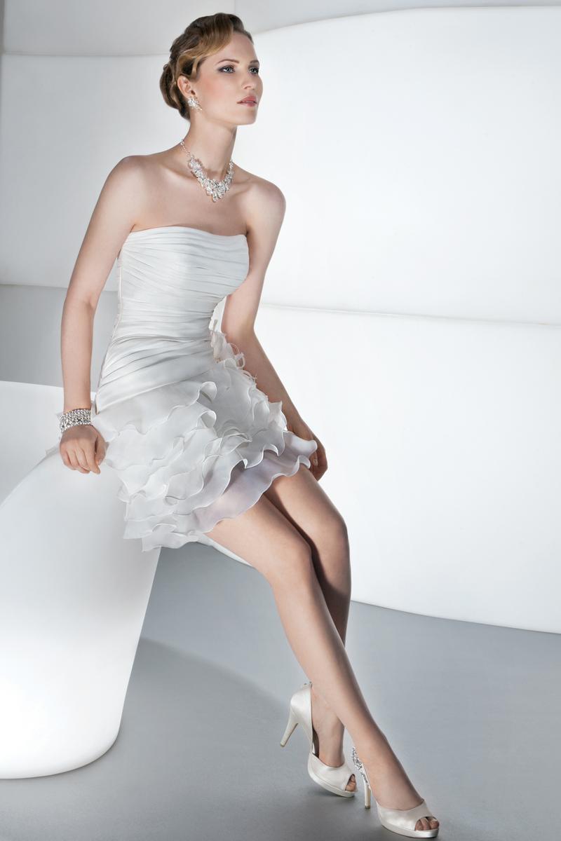 Wedding Dresses, Fashion, Demetrios, 2 piece, removable skirt, Asymmetrical ruching, mini dress, bodice corset back