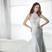 Wedding Dresses, Lace Wedding Dresses, Fashion, Lace, Halter, Sheath, Demetrios, Jeweled, Sheer, Attached Train, t-back, halter wedding dresses, Sheath Wedding Dresses