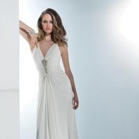 Wedding Dresses, Fashion, Demetrios, crystal beading, ruched bodice, Attached Train, draped skirt, beaded straps, keyhold back
