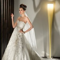 Wedding Dresses, Sweetheart Wedding Dresses, A-line Wedding Dresses, Fashion, Flower, Sweetheart, Strapless, Strapless Wedding Dresses, A-line, Demetrios, Beaded, Attached Train, lace back, beaded scroll, embellisedh