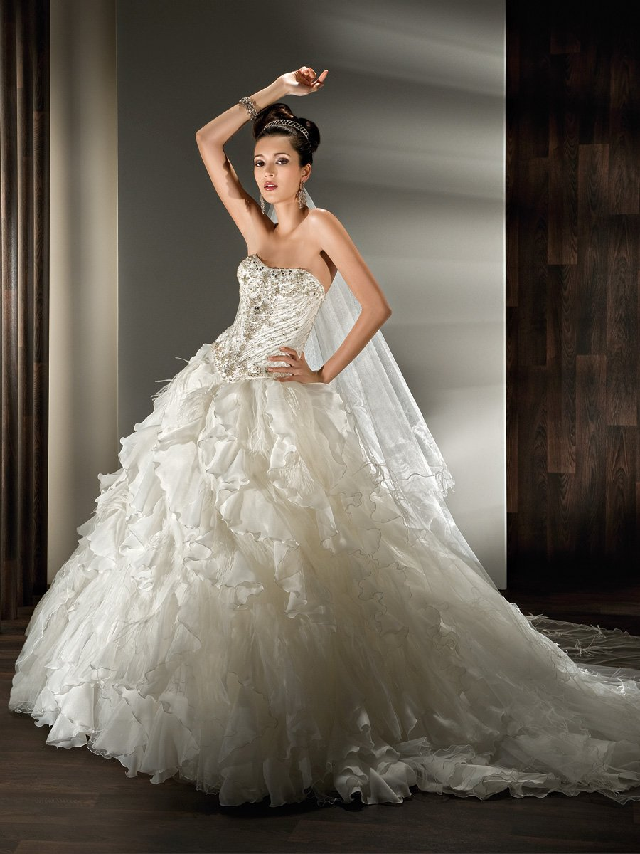 Wedding Dresses, Ball Gown Wedding Dresses, Ruffled Wedding Dresses, Fashion, Feathers, Strapless, Strapless Wedding Dresses, Satin, Demetrios, Organza, Ruffles, Beaded, Ruffled, Ball gown, lace back, multi-ruffled skirt, organza wedding dresses, satin wedding dresses, Feather Wedding Dresses