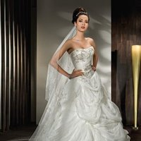 Wedding Dresses, Ball Gown Wedding Dresses, Fashion, Train, Beading, Tulle, Demetrios, Beaded, Ruched, Ball gown, stapless, wrap bodice, Bustled skirt, lace back, Beaded Wedding Dresses, tulle wedding dresses