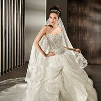 Wedding Dresses, Sweetheart Wedding Dresses, Fashion, Sweetheart, Strapless, Strapless Wedding Dresses, Curved, Demetrios, Organza, Jeweled, Bustled skirt, lace back, scattered jewels, organza wedding dresses