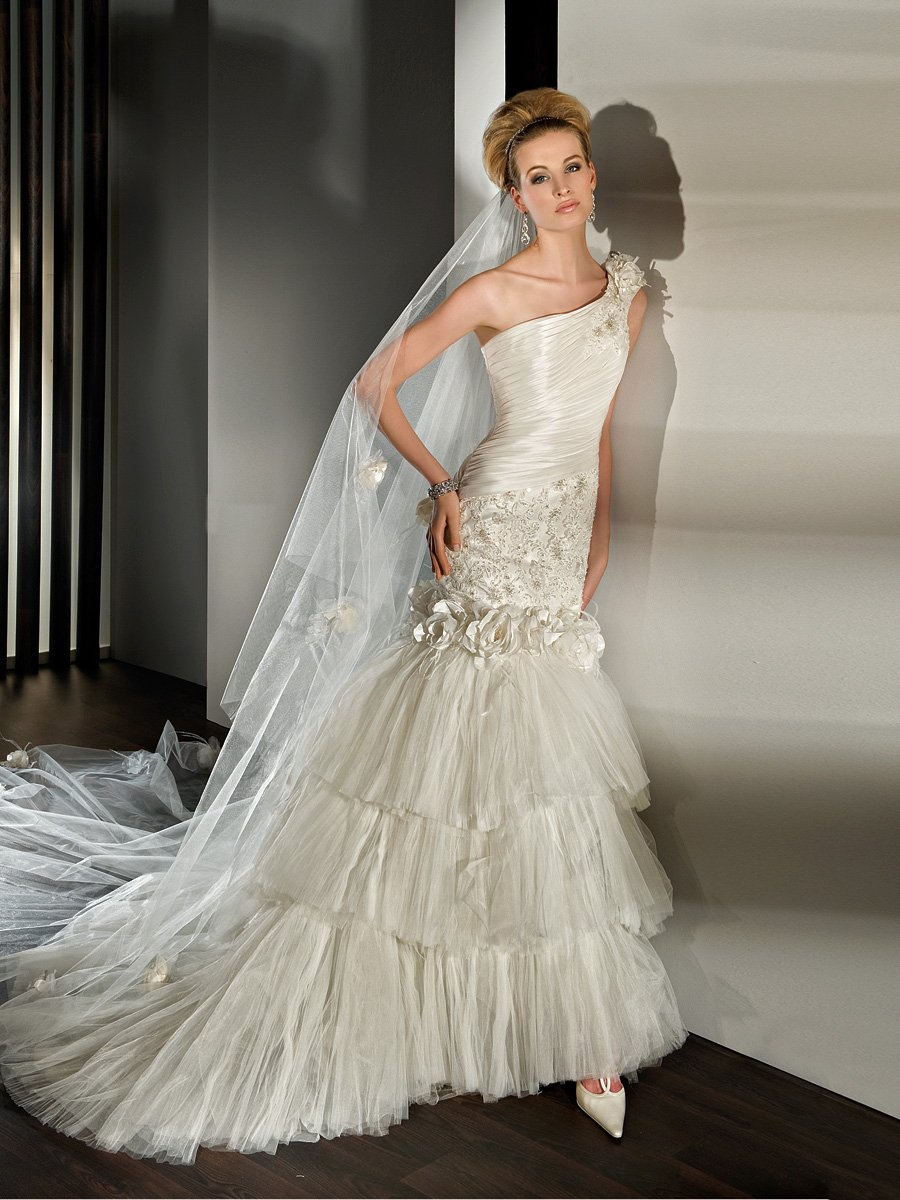 Wedding Dresses, One-Shoulder Wedding Dresses, Lace Wedding Dresses, Fashion, Flowers, Lace, Tulle, Demetrios, Taffeta, One-shoulder, pleated bodice, removable skirt, mini gown, long to short, multi-tiered skirt, taffeta wedding dresses, tulle wedding dresses, Flower Wedding Dresses
