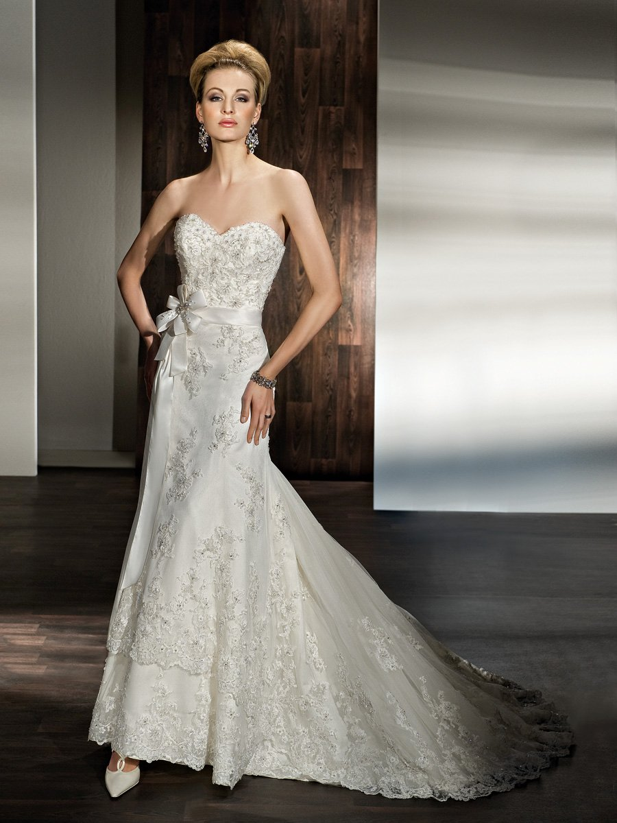 Wedding Dresses, Sweetheart Wedding Dresses, Lace Wedding Dresses, Fashion, Flowers, Lace, Sweetheart, Strapless, Strapless Wedding Dresses, Sheath, Demetrios, Jeweled, Embellished, two-tier skirt, scalloped hem, ribbon belt, Flower Wedding Dresses, Sheath Wedding Dresses