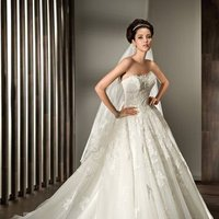 Wedding Dresses, Ball Gown Wedding Dresses, Lace Wedding Dresses, Romantic Wedding Dresses, Fashion, Classic, Romantic, Lace, Strapless, Strapless Wedding Dresses, Tulle, Demetrios, Ball gown, Beaded belt, semi-cathedral train, Classic Wedding Dresses, tulle wedding dresses