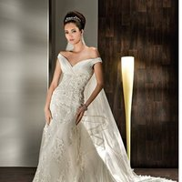 Wedding Dresses, Lace Wedding Dresses, Fashion, Lace, Off the shoulder, Sheath, Demetrios, Organza, pleated bodice, lace back, empire bodice, pleated ruffles, Off the Shoulder Wedding Dresses, organza wedding dresses, Sheath Wedding Dresses