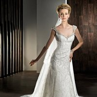 Wedding Dresses, Lace Wedding Dresses, Fashion, Train, Lace, Sheath, Demetrios, Beaded, Scoop back, low back, beaded neckline, criss cross pleating, Sheath Wedding Dresses