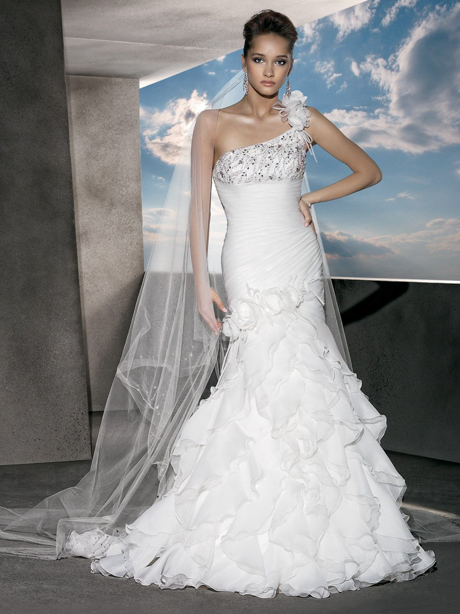 Wedding Dresses, One-Shoulder Wedding Dresses, Fashion, Flowers, Tiered, Satin, Demetrios, Organza, Beaded, Ruched, Ruffled, One-shoulder, ruched bodice, laced back, organza wedding dresses, satin wedding dresses, Flower Wedding Dresses