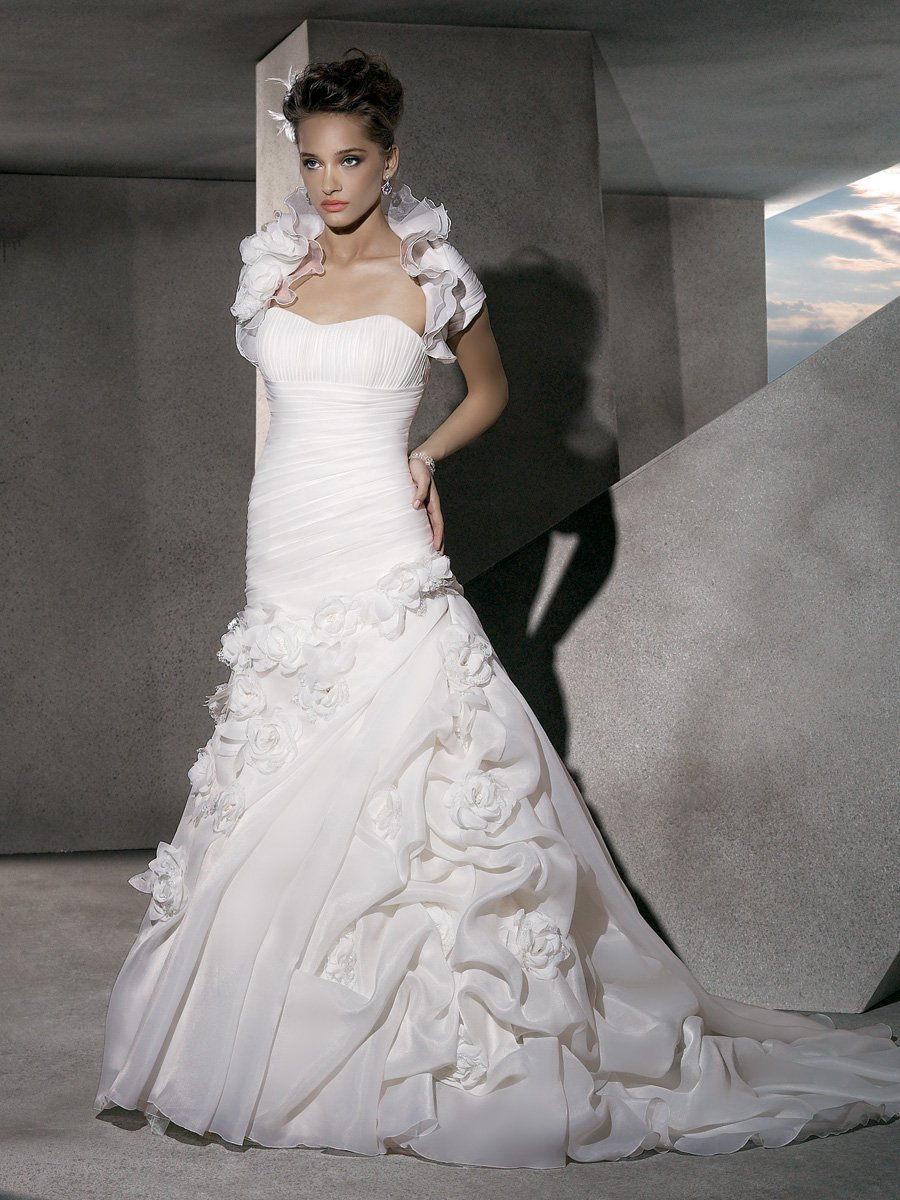Wedding Dresses, Ruffled Wedding Dresses, Fashion, Flowers, Strapless, Strapless Wedding Dresses, Satin, Demetrios, Organza, Ruffles, Bolero, Bolero jacket, ruched bodice, Bustled skirt, empire bodice, laced back, organza wedding dresses, satin wedding dresses, Flower Wedding Dresses
