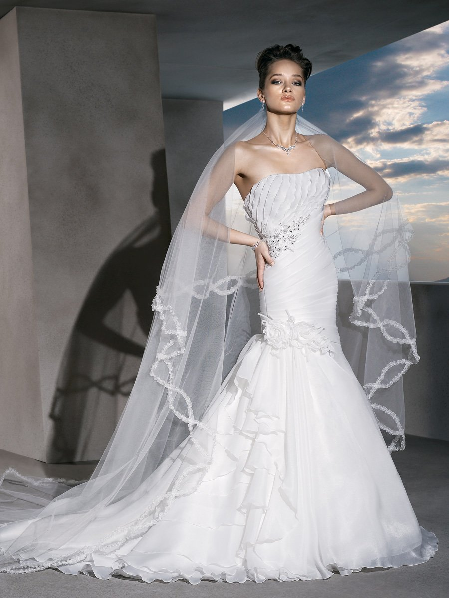 Wedding Dresses, Fashion, Strapless, Strapless Wedding Dresses, Beading, Asymmetrical, Satin, Demetrios, Organza, pleating, laced up back, Beaded Wedding Dresses, organza wedding dresses, satin wedding dresses
