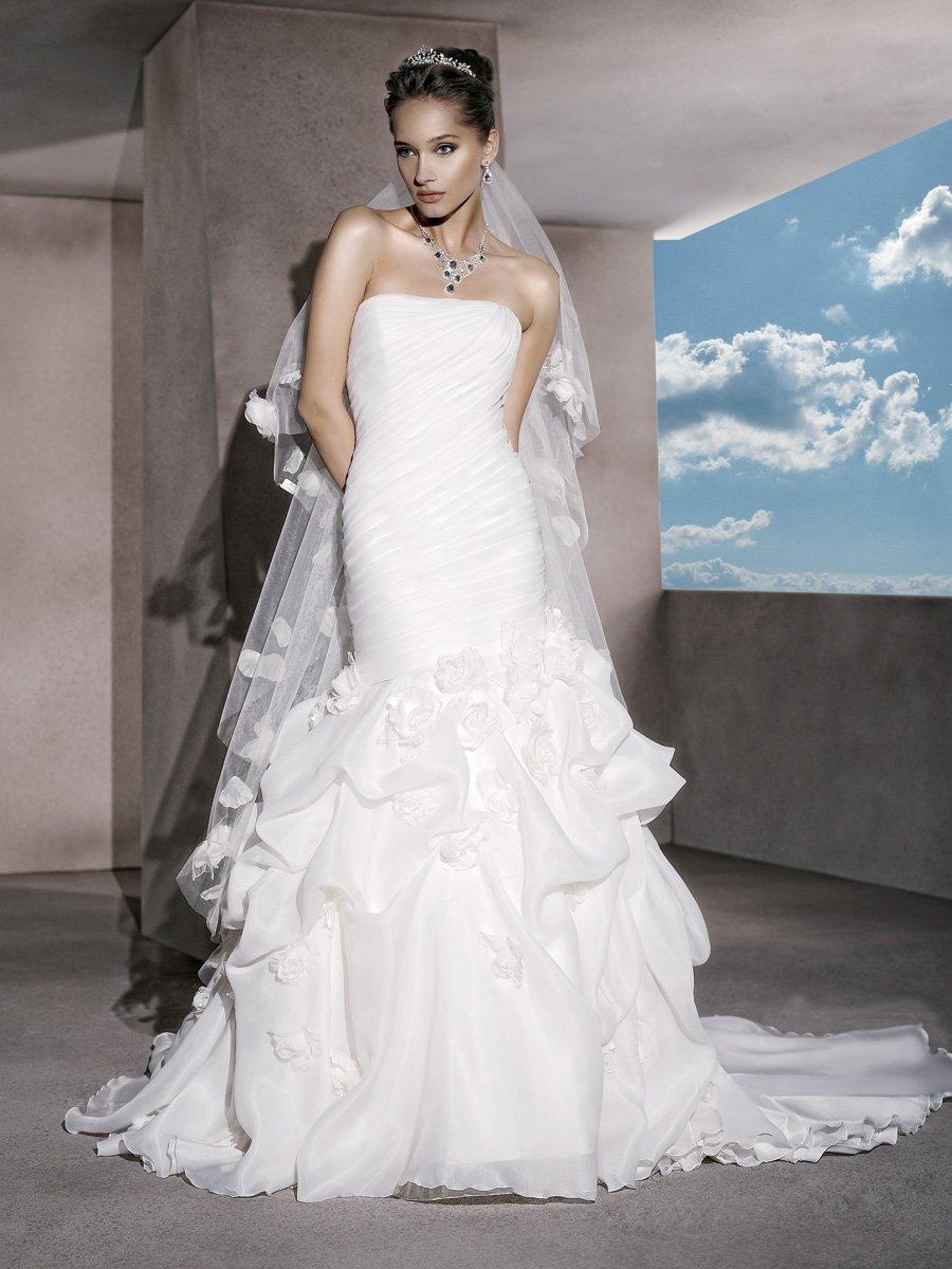 Wedding Dresses, Fashion, Flowers, Strapless, Strapless Wedding Dresses, Satin, Demetrios, Organza, Ruched, Bustled skirt, laced back, flowered belt, organza wedding dresses, satin wedding dresses, Flower Wedding Dresses