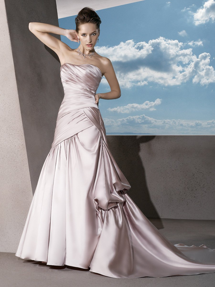 Wedding Dresses, A-line Wedding Dresses, Fashion, Strapless, Strapless Wedding Dresses, A-line, Satin, Demetrios, Beaded belt, pleating, aysmmetrical, side bustle, satin wedding dresses