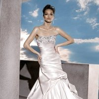 Wedding Dresses, Fashion, Train, Strapless, Strapless Wedding Dresses, Bustle, Satin, Demetrios, Beaded, empire bodice, laced back, wrap around pleates, side beading, satin wedding dresses