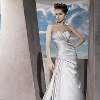 Wedding Dresses, Sweetheart Wedding Dresses, A-line Wedding Dresses, Fashion, Sweetheart, Strapless, Strapless Wedding Dresses, A-line, Satin, Demetrios, ruched bodice, Asymmetrical ruching, side draping, laced back, satin wedding dresses