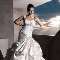 Wedding Dresses, Sweetheart Wedding Dresses, Fashion, Sweetheart, Strapless, Strapless Wedding Dresses, Satin, Demetrios, Beaded, Beaded belt, empire waist, Bustled skirt, Asymmetrical ruching, bustled train, option cap sleeves, beaded sleeves, satin wedding dresses