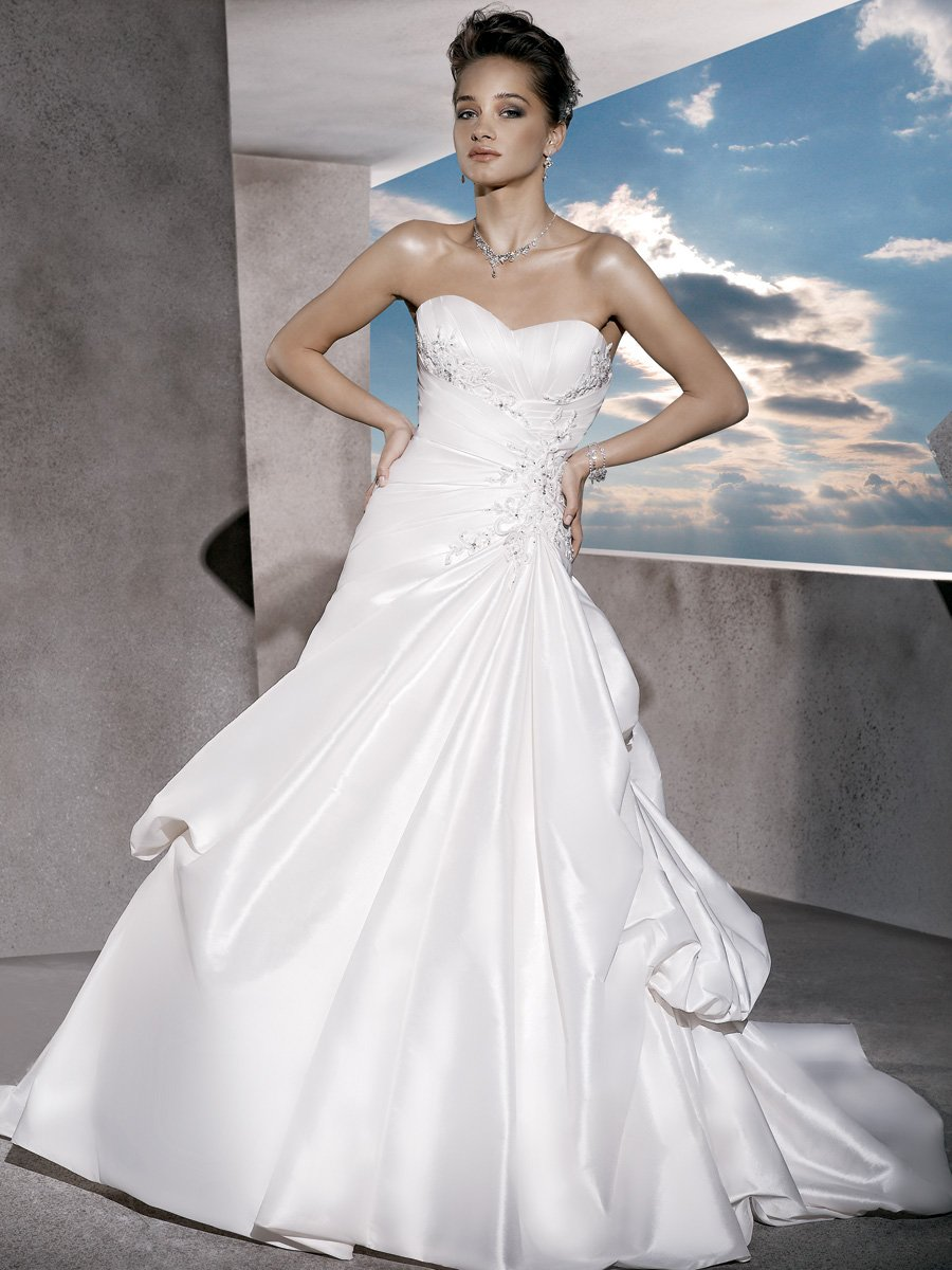 Wedding Dresses, Sweetheart Wedding Dresses, A-line Wedding Dresses, Fashion, Sweetheart, Strapless, Strapless Wedding Dresses, A-line, Embroidery, Demetrios, Taffeta, Embellished, wrapped bodice, Bustled skirt, Asymmetrical ruching, a-line skirt, laced back, taffeta wedding dresses