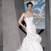 Wedding Dresses, One-Shoulder Wedding Dresses, Fashion, Flowers, Crystal, Demetrios, Beaded, One-shoulder, ruched bodice, Bustled skirt, emebellished, laced back, taggeta, Flower Wedding Dresses