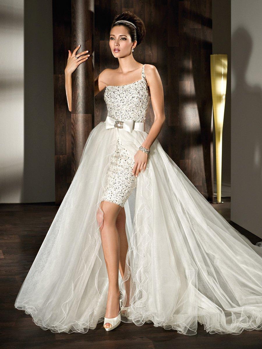 jewel encrusted wedding dress jeweled wedding dress One Shoulder Fully Beaded Mini With Wraparound Tulle Train