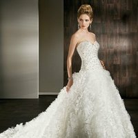 Wedding Dresses, Sweetheart Wedding Dresses, Ruffled Wedding Dresses, Fashion, Sweetheart, Strapless, Strapless Wedding Dresses, Demetrios, Ruffles, Jeweled, ruffled skirt, pleated skirt, pleated ruffles, laced back, vertical pleats