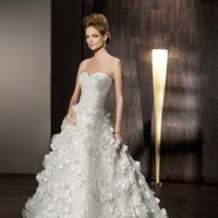 Wedding Dresses, Sweetheart Wedding Dresses, A-line Wedding Dresses, Romantic Wedding Dresses, Fashion, Romantic, Sweetheart, Strapless, Strapless Wedding Dresses, A-line, Belt, Petals, Demetrios, Taffeta, ruched bodice, a-line skirt, scattered flowers, taffeta wedding dresses