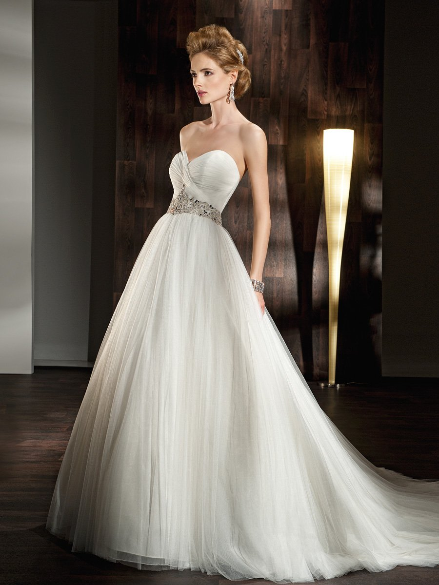 Wedding Dresses, Sweetheart Wedding Dresses, A-line Wedding Dresses, Fashion, Sweetheart, Strapless, Strapless Wedding Dresses, A-line, Belt, Tulle, Demetrios, Beaded, Full skirt, ruched bodice, Jewel encrusted, a-line skirt, soft tulle, tulle wedding dresses