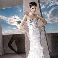 Wedding Dresses, Fashion, Strapless, Strapless Wedding Dresses, Sheath, Satin, Embroidery, Bow, Demetrios, Ruched, Embellished, wrapped bodice, empire bodice, laced back, satin wedding dresses, Sheath Wedding Dresses