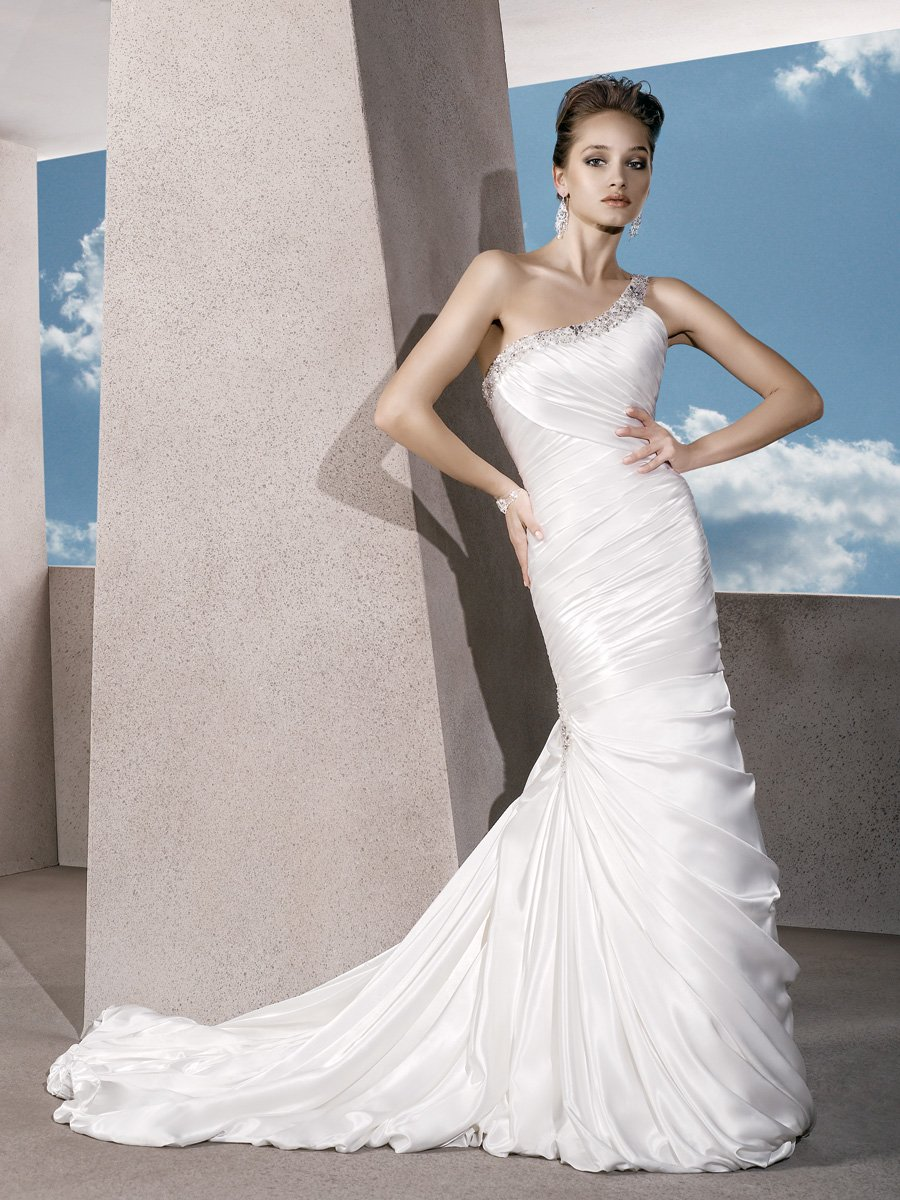 Wedding Dresses, One-Shoulder Wedding Dresses, Fashion, Satin, Demetrios, Beaded, Ruched, Embellished, One-shoulder, bubble hem, trumpet skirt, laced back, jeweled motif, satin wedding dresses