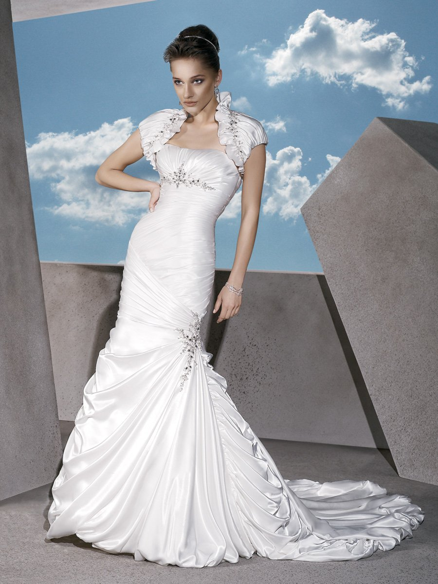 Wedding Dresses, Fashion, Strapless, Strapless Wedding Dresses, Sheath, Satin, Demetrios, Bolero jacket, empire waist, Asymmetrical ruching, bubble hem, side draping, trumpet skirt, matching bolero, jeweled medallion, satin wedding dresses, Sheath Wedding Dresses