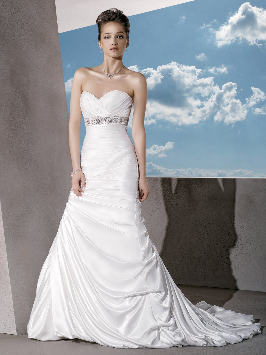 Wedding Dresses, Sweetheart Wedding Dresses, Fashion, Sweetheart, Strapless, Strapless Wedding Dresses, Satin, Demetrios, Beaded, Ruched, Beaded belt, bubble hem, empire bodice, laced back, trumpket skirt, jeweled motif, satin wedding dresses